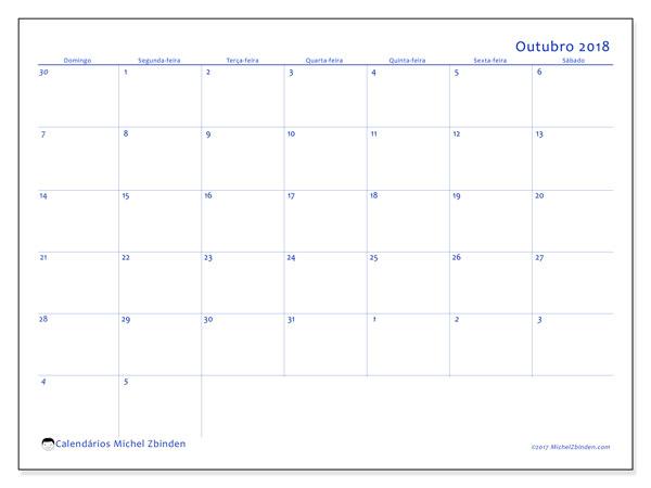 Calendário de outubro  de 2018 (73DS). Calendário mensal para imprimir gratuitamente.