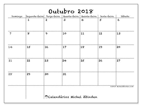 Calendário de outubro  de 2018 (77DS). Calendário para o mês para imprimir livre.