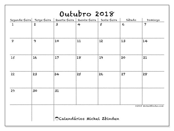 Calendário de outubro  de 2018 (77SD). Calendário gratuito para imprimir.