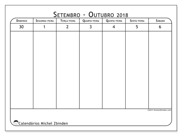 Calendário de outubro  de 2018 (90DS). Calendário para a semana para imprimir livre.