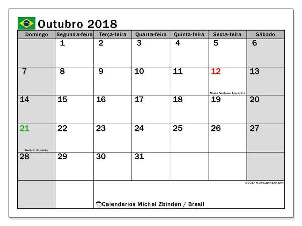 Calendário em outubro  de 2018, com feriados públicos do Brasil. Calendário para imprimir gratuitamente.