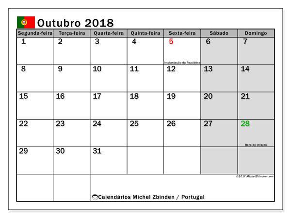 Calendário em outubro  de 2018, com feriados públicos em Portugal. Calendário para imprimir livre.