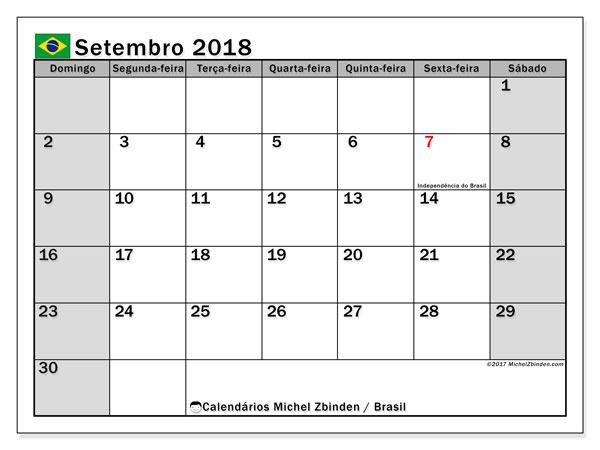 Calendário em setembro  de 2018, com feriados públicos do Brasil. Agenda para imprimir livre.
