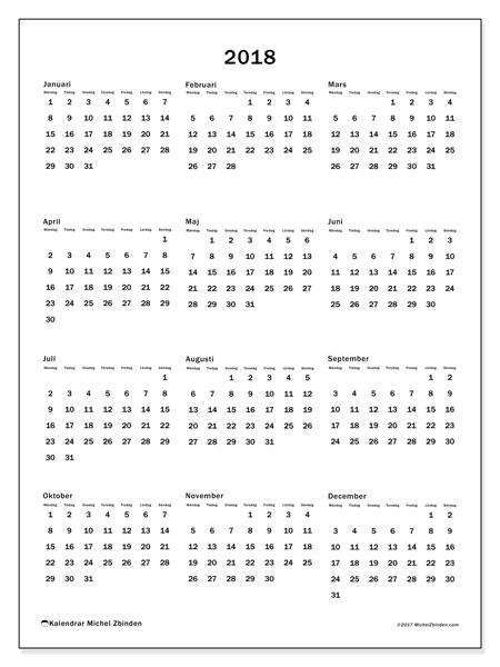 Kalender 2018 (33MS). Årlig kalender för att skriva ut gratis.