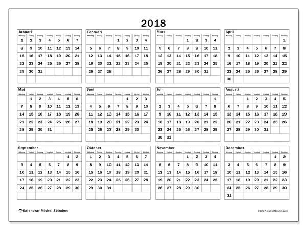 Kalender 2018 (34MS). Kalender för gratis utskrift.