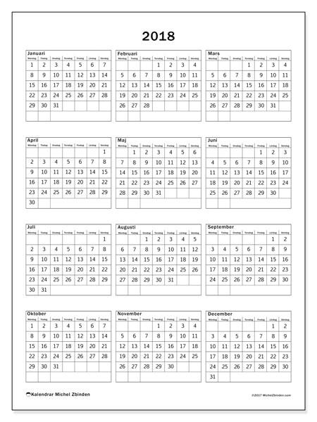 Kalender 2018 (36MS). Årlig kalender för att skriva ut gratis.