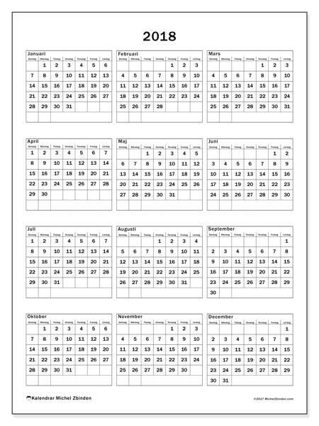 Kalender 2018 (36SL). Gratis kalender att skriva ut.