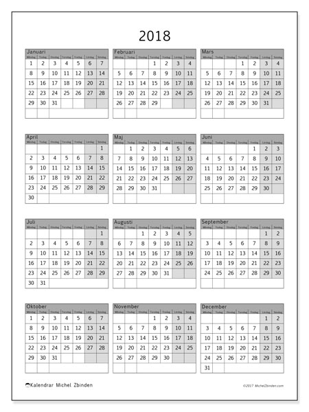 Kalender 2018 (37MS). Gratis kalender att skriva ut.