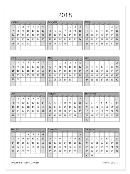 Kalender 2018 (37SL). Årlig kalender för att skriva ut gratis.