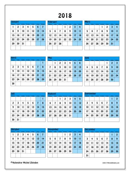 Kalender 2018 (40MS). Kalender för året att skriva ut gratis.