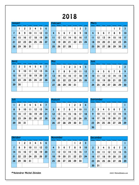 Kalender 2018 (40SL). Gratis utskrivbara kalender.