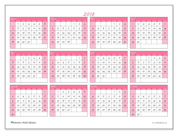 Kalender 2018 (41SL). Kalender för att skriva ut gratis.