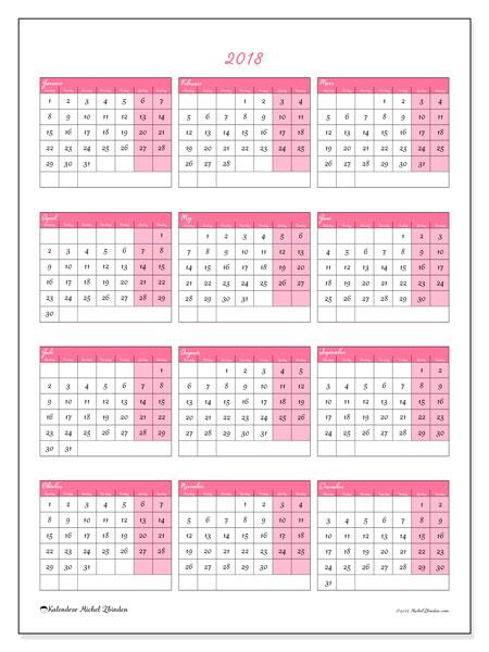 Kalender 2018 (42MS). Kalender för att skriva ut gratis.