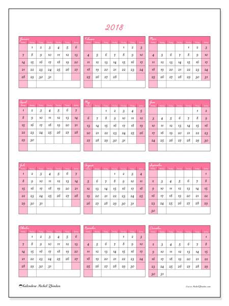 Kalender 2018 (42SL). Kalender för att skriva ut gratis.