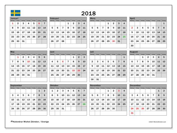 Kalender 2018, med helgdagar i sverige. Kalender för året att skriva ut gratis.