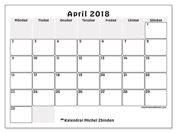 Kalender april 2018 (44MS). Almanak för att skriva ut gratis.