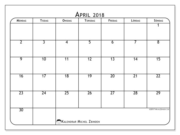 Kalender april 2018 (51MS). Gratis utskrivbara kalender.