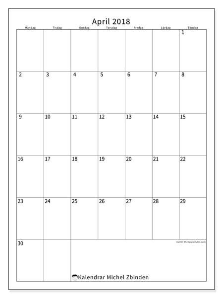 Kalender  april 2018, 52MS