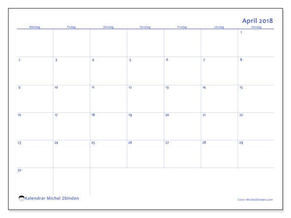 Kalender april 2018 (55MS). Månadskalender för att skriva ut gratis.