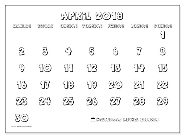 Kalender april 2018 (56MS). Gratis utskrivbara kalender.