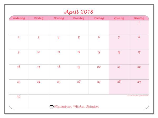 Kalender april 2018 (63MS). Almanak för att skriva ut gratis.