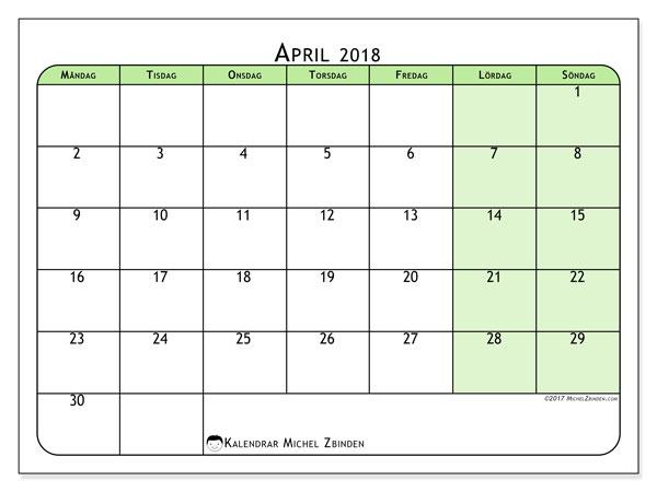 Kalender april 2018 (65MS). Kalender för gratis utskrift.