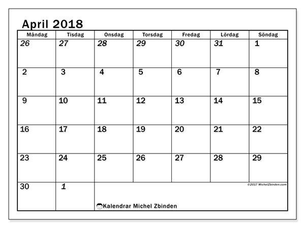 Kalender april 2018 (66MS). Gratis kalender att skriva ut.