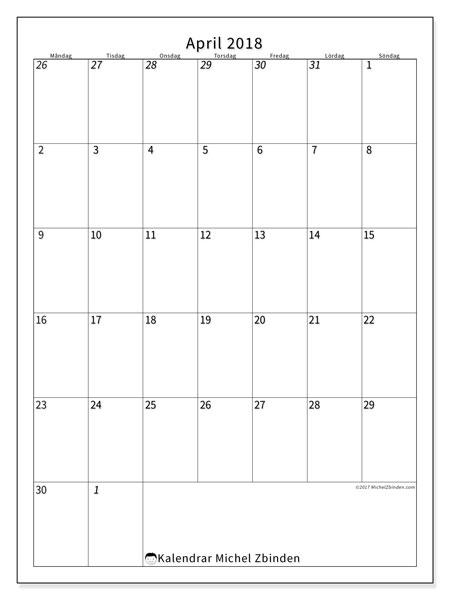 Kalender  april 2018, 68MS