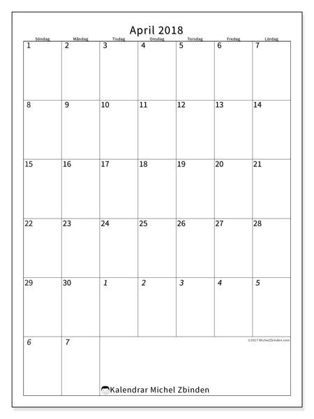 Kalender april 2018 (68SL). Schema för att skriva ut gratis.
