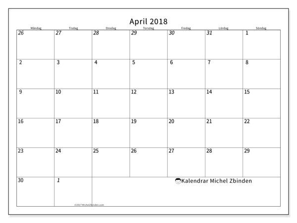 Kalender april 2018 (70MS). Månadskalender för att skriva ut gratis.