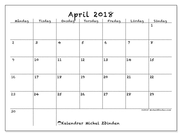 Kalender  april 2018, 77MS