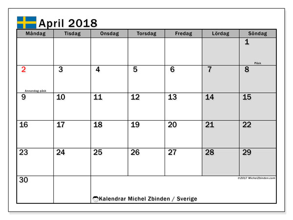 Kalender april 2018, med helgdagar i sverige. Gratis kalender att skriva ut.