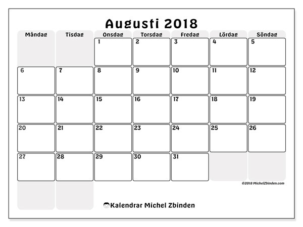 Kalender  augusti 2018, 44MS