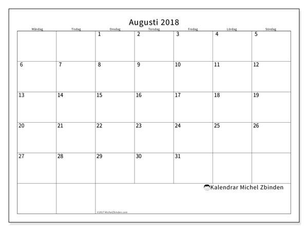 Kalender  augusti 2018, 53MS