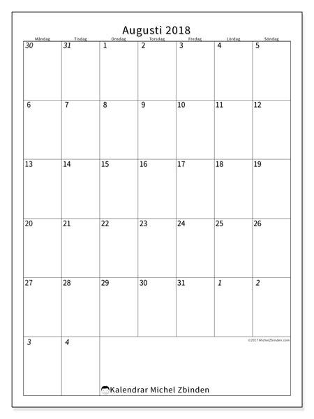 Kalender  augusti 2018, 68MS