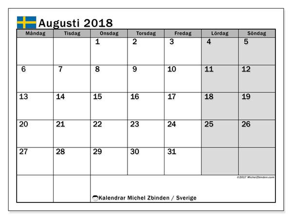 Kalender augusti 2018, med helgdagar i sverige. Månadskalender för att skriva ut gratis.