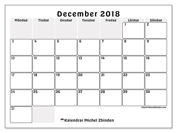 Kalender december 2018 (44MS). Kalender för att skriva ut gratis.
