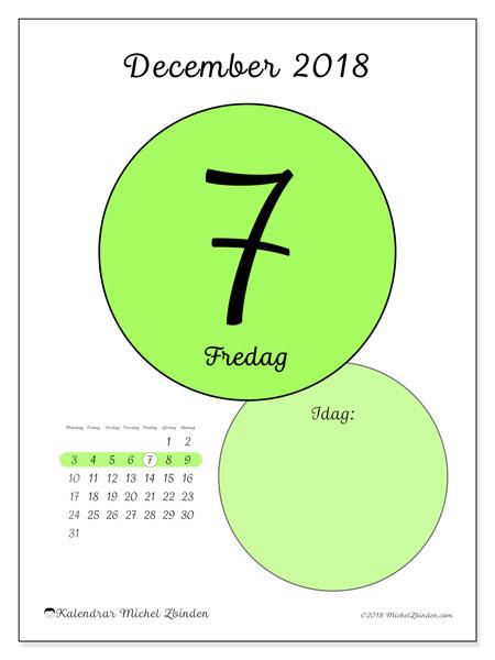 Kalender december 2018 (45-7MS). Kalender för dagen att skriva ut gratis.