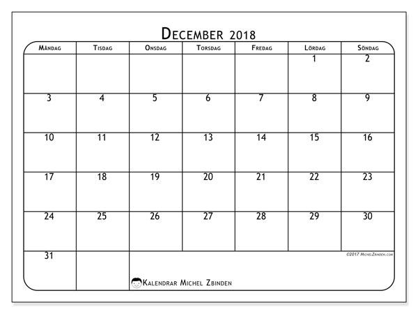 Kalender december 2018 (51MS). Almanak för att skriva ut gratis.