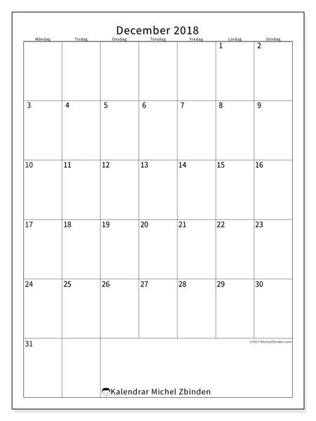 Kalender december 2018 (52MS). Gratis utskrivbara kalender.