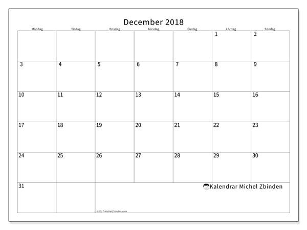 Kalender december 2018 (53MS). Kalender för gratis utskrift.