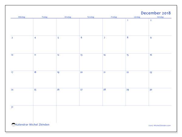 Kalender december 2018 (55MS). Almanak för att skriva ut gratis.
