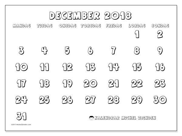 Kalender december 2018 (56MS). Almanak för att skriva ut gratis.