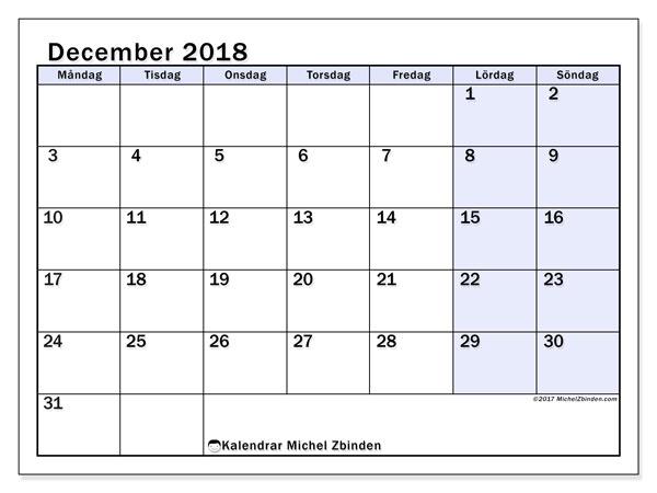 Kalender december 2018 (57MS). Gratis kalender att skriva ut.