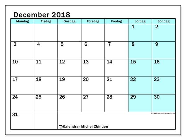 Kalender december 2018 (59MS). Almanak för att skriva ut gratis.