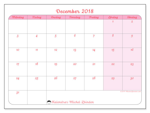 Kalender december 2018 (63MS). Gratis kalender att skriva ut.