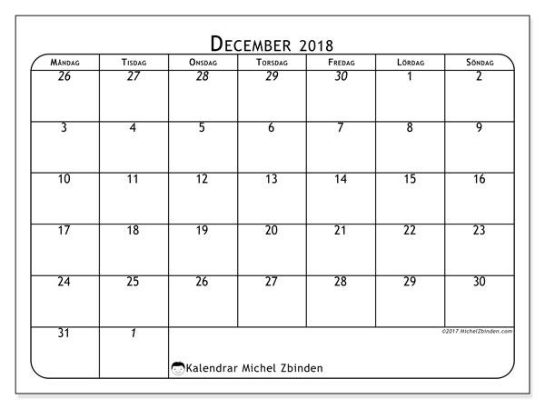 Kalender  december 2018, 67MS