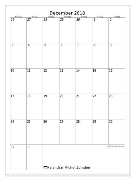 Kalender  december 2018, 68MS