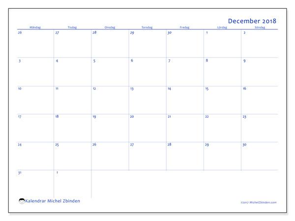 Kalender december 2018 (73MS). Månadskalender för att skriva ut gratis.