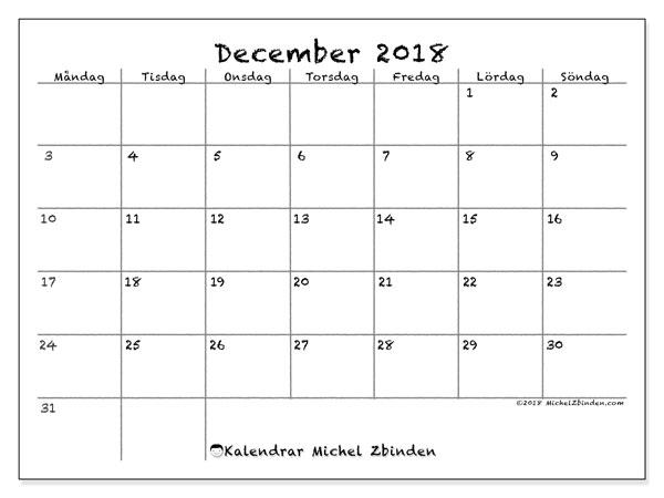 Kalender  december 2018, 77MS